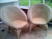 Two mid 60,s Rattan Wicker chairs