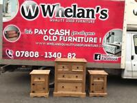 Mexican pine chest of drawers £60-Mexican pine beside lockers £20 a piece