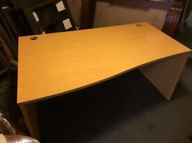 Large Curved Maple Office Desk, With Set of Drawers