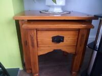 Nest of two tables with drawer, in a lovely polished wood