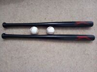 2 baseball bats with balls, brand new, never used