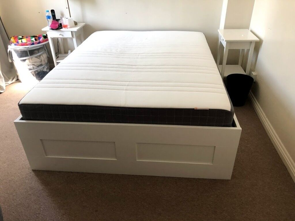 Ikea Kingsize Bed Frame With Storage Brimnes And Memory Foam