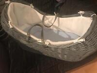 Grey pod Moses basket