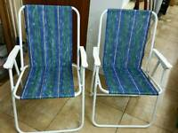Deck chairs folding 2 with spunges in excellent condition