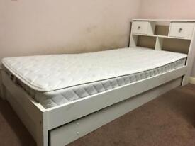 White single bed headboard with drawers, lower storage drawer