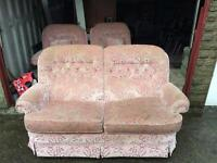 Sofas pink 2 seater and 2 chairs