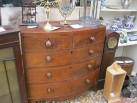 VINTAGE BOW FRONTED GEORGIAN CHEST OF DRAWERS. '2 OVER 3' DEEP DRAWER LAYOUT. VIEWING/DELIVERY POSS