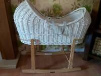 White wicker moses basket and rocking stand clair de la lune crib