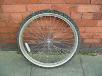 "mountain bike 26"" front wheel with tyres and inner tube"