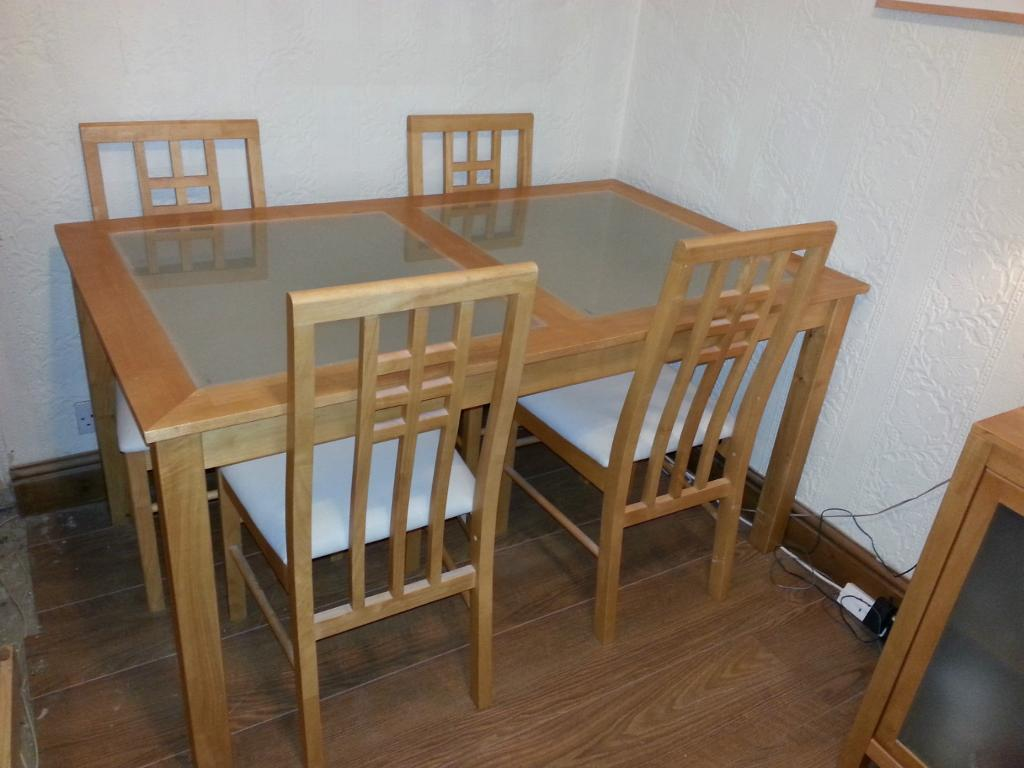 Modern Solid Wood Dining Table And Six Chairs
