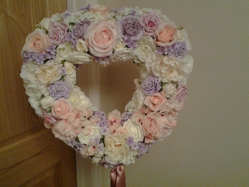 Heart Shape Tree Decorated With Silk Flowers 2 Available In