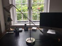 Brushed silver coloured adjustable desk lamp.