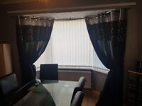 90x90 black & grey lined curtains