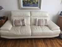 Harvey's 3 and 2 seater cream leather sofas
