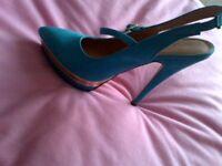 High Heel / platform Turquoise Sling back size 40 shoes