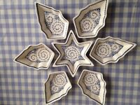 Blue and Cream Star Shaped Christmas Mezes, Nuts, Snack Dishes
