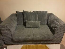 Grey cord 2 seater sofa