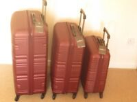 BRAND NEW Antler Saturn Hardside 3 Piece Burgundy Cabin Medium Large Suitcase Set