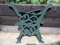 Pair of heavy cast iron bench ends for restoring