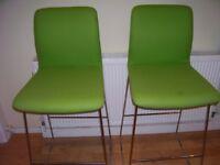 2 Tall Bar Stools Bargain quality items. Were £240+vat each! Green & Chrome