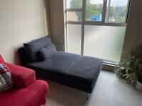Dark Grey Chaise Longue Couch with cushions, gently used sofa