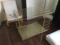 "Ellie-Bo dog & puppy cage, 42"", gold"