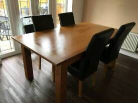 Solid Oak Dining Table & 4 Chairs