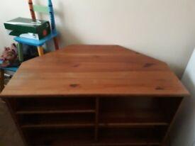 Corner wooden tv stand,