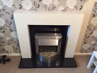 Electric Fire, Real Granite Surround and Gloss MDF Mantle