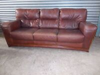 Large Tan/Brown Leather 3-1-1 Suite