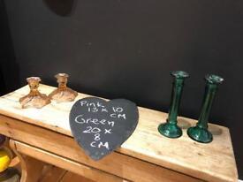 Vintage pink & green candle sticks holders decorative ornament prop
