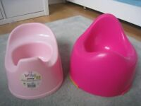 2 pink potties for potty training