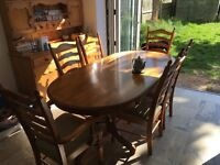 6' Dining Table & 6 Chairs in Rubberwood
