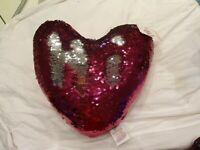VALENTINES DAY Heart Cushion Sequin HOT PINK and Silver BRAND NEW WITH TAGS