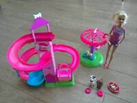 Barbie doll with Barbie Slide & Spin pups playset