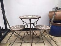 Mosaic Tiled Table & Chairs Outdoor Bistro Style Terracotta - Used