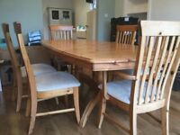 Ducal extendable dining table and chairs (2 carvers)