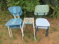 Vintage metal kitchen chairs (and stool)