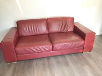 Suite 3 piece 3+2+1 Red Leather Natuzzi Great condition