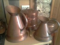 Copper water urn and 2 large copper jugs - £25, £40 & £70