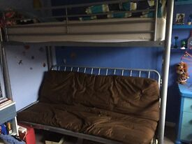 High sleeper with pullout double bed under. Good clean condition. Can include mattress. Side ladder.