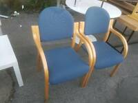 Chairs - Quality Blue Fabric and Wood Armchairs