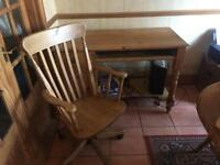 Lincoln wood desk and chair.