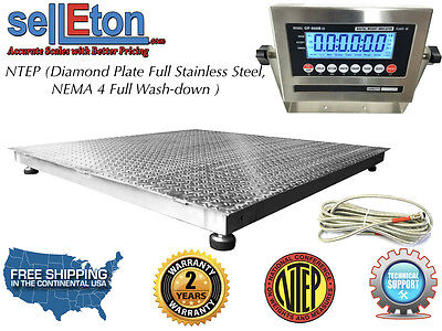 Ntep 48 X 48 4 X 4 Floor Scale Fixed Top Stainless Steel Washdown 5000 Lbs