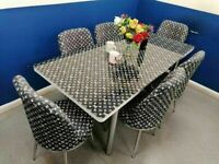 ⭐⭐SOLID METAL LOUIS VUITTON EXTENDABLE DINING TABLE WITH FULLY FOAM CUSHIONED 6 CHAIRS FOR SALE