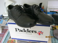 Mens Brand New Black Leather Padders Shoes Size 9