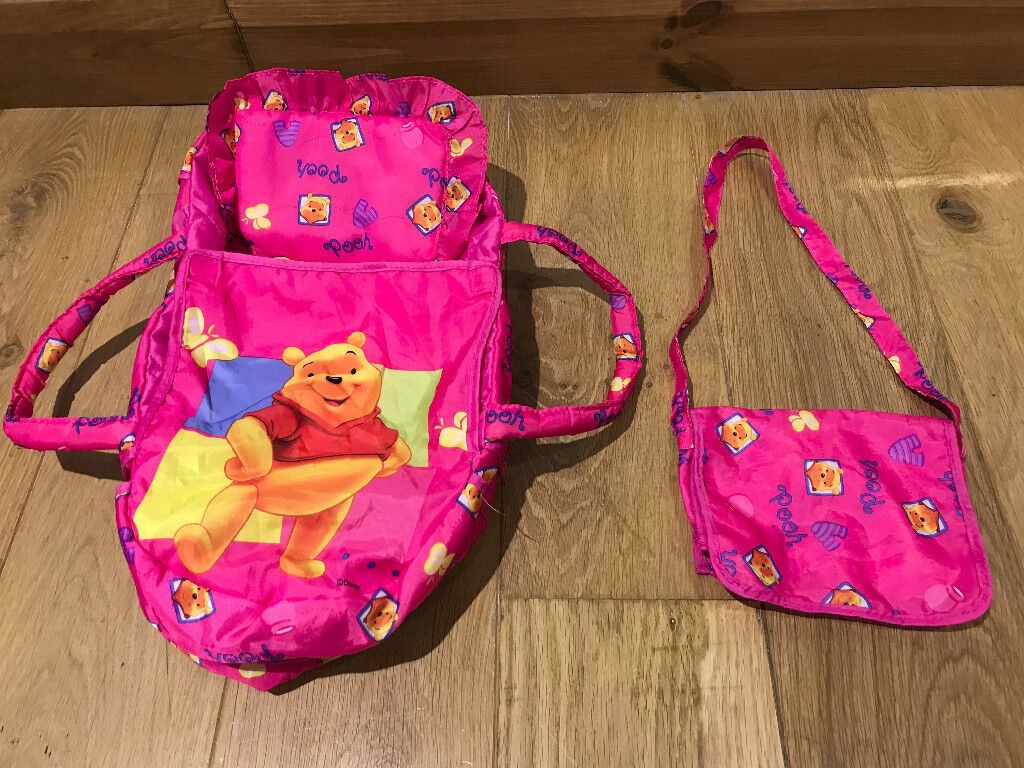 Doll's Winnie The Pooh Carry Bed With Changing Bag