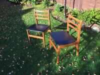 Retro, pair of wooden chairs, classic, shabby chic, 1960's -1970's