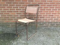 Vintage Single Tubular Metal and Canvas Stacking Chair Pel Cox