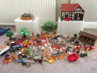 Farm playset including playmobil and schleich